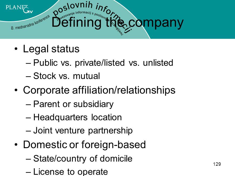 129 Defining the company Legal status –Public vs.private/listed vs.