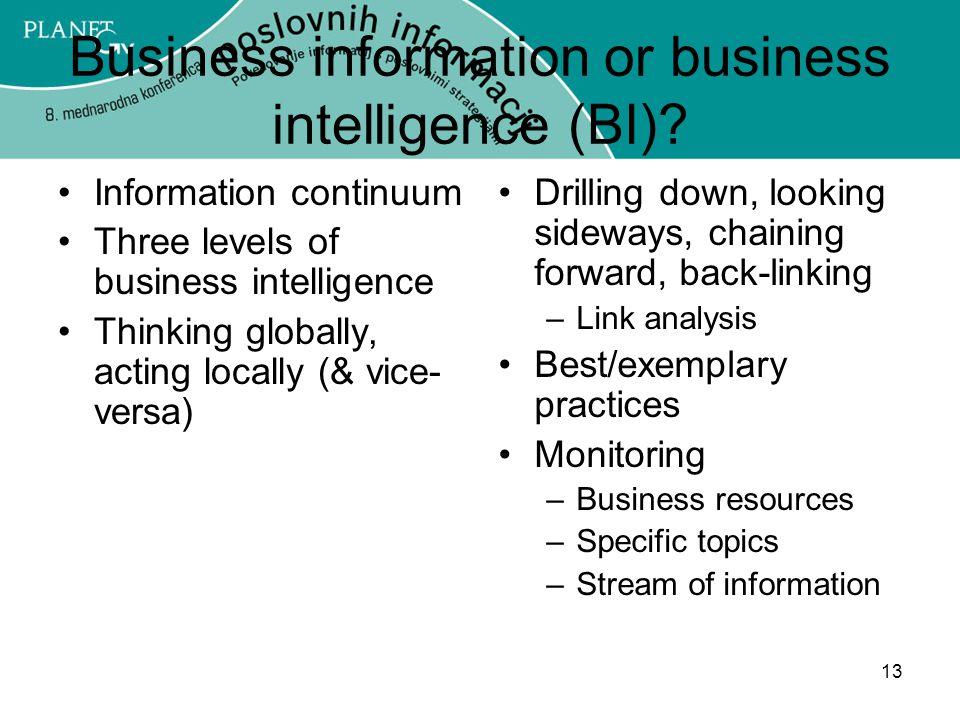 13 Business information or business intelligence (BI).