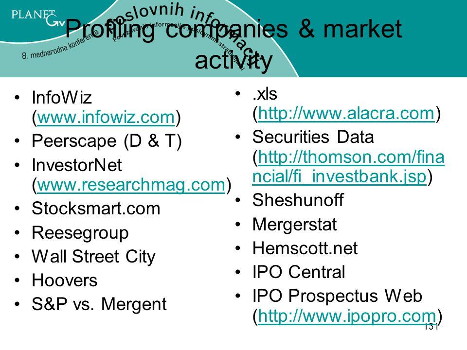 131 Profiling companies & market activity InfoWiz (www.infowiz.com)www.infowiz.com Peerscape (D & T) InvestorNet (www.researchmag.com)www.researchmag.com Stocksmart.com Reesegroup Wall Street City Hoovers S&P vs.