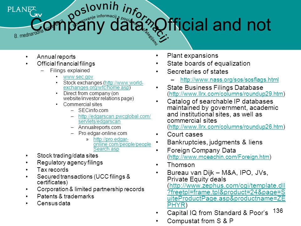 136 Company data: Official and not Annual reports Official financial filings –Filings explained www.sec.gov Stock exchanges (http://www.world- exchanges.org/wfc/home.asp)http://www.world- exchanges.org/wfc/home.asp Direct from company (on website/investor relations page) Commercial sites –SECinfo.com –http://edgarscan.pwcglobal.com/ servlets/edgarscanhttp://edgarscan.pwcglobal.com/ servlets/edgarscan –Annualreports.com –Pro.edgar-online.com »http://pro.edgar- online.com/people/people Search.asphttp://pro.edgar- online.com/people/people Search.asp Stock trading/data sites Regulatory agency filings Tax records Secured transactions (UCC filings & certificates) Corporation & limited partnership records Patents & trademarks Census data Plant expansions State boards of equalization Secretaries of states –http://www.nass.org/sos/sosflags.htmlhttp://www.nass.org/sos/sosflags.html State Business Filings Database (http://www.llrx.com/columns/roundup29.htm)http://www.llrx.com/columns/roundup29.htm Catalog of searchable IP databases maintained by government, academic and institutional sites, as well as commercial sites (http://www.llrx.com/columns/roundup26.htm)http://www.llrx.com/columns/roundup26.htm Court cases Bankruptcies, judgments & liens Foreign Company Data (http://www.mceachin.com/Foreign.htm)http://www.mceachin.com/Foreign.htm Thomson Bureau van Dijk – M&A, IPO, JVs, Private Equity deals (http://www.zephus.com/cgi/template.dll ?freetpl=frame.tpl&product=24&page=S uiteProductPage.asp&productname=ZE PHYR)http://www.zephus.com/cgi/template.dll ?freetpl=frame.tpl&product=24&page=S uiteProductPage.asp&productname=ZE PHYR Capital IQ from Standard & Poor's Compustat from S & P
