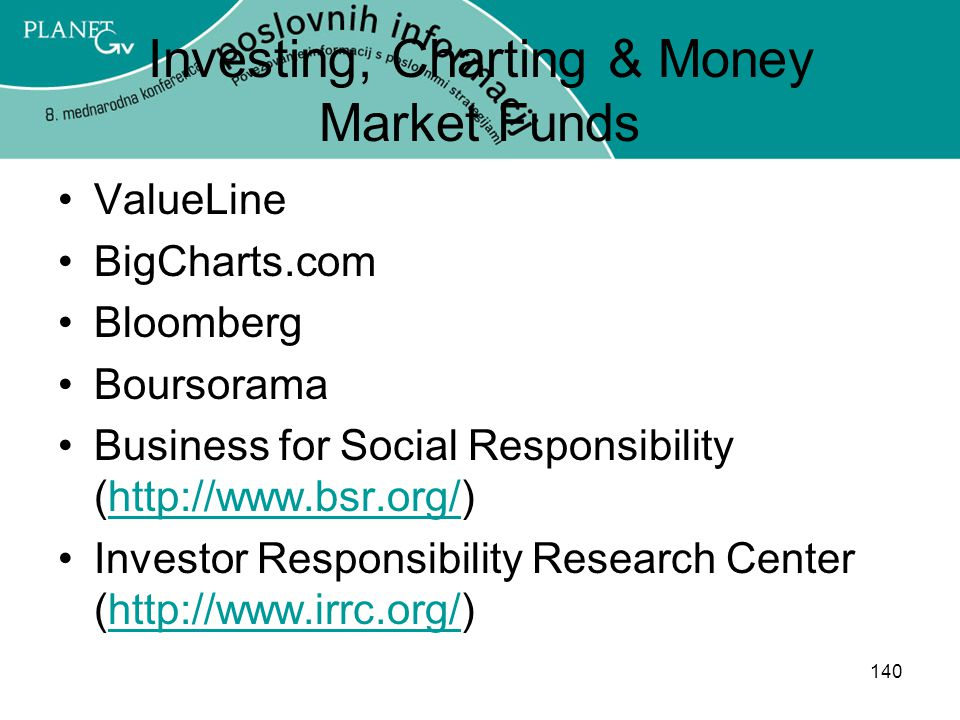 140 Investing, Charting & Money Market Funds ValueLine BigCharts.com Bloomberg Boursorama Business for Social Responsibility (http://www.bsr.org/)http://www.bsr.org/ Investor Responsibility Research Center (http://www.irrc.org/)http://www.irrc.org/