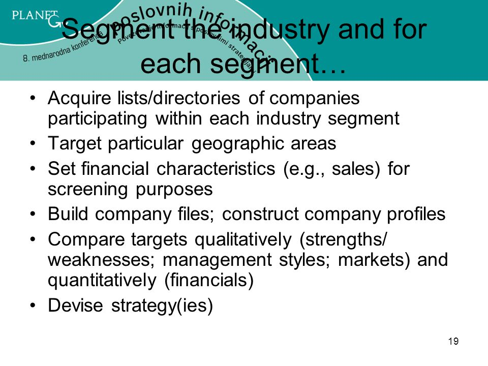 19 Segment the industry and for each segment… Acquire lists/directories of companies participating within each industry segment Target particular geographic areas Set financial characteristics (e.g., sales) for screening purposes Build company files; construct company profiles Compare targets qualitatively (strengths/ weaknesses; management styles; markets) and quantitatively (financials) Devise strategy(ies)