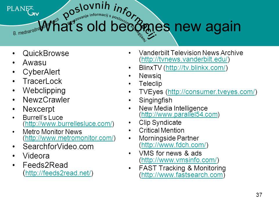 37 What's old becomes new again QuickBrowse Awasu CyberAlert TracerLock Webclipping NewzCrawler Nexcerpt Burrell's Luce (http://www.burrellesluce.com/)http://www.burrellesluce.com/ Metro Monitor News (http://www.metromonitor.com/)http://www.metromonitor.com/ SearchforVideo.com Videora Feeds2Read ( http://feeds2read.net/) http://feeds2read.net/ Vanderbilt Television News Archive ( http://tvnews.vanderbilt.edu/) http://tvnews.vanderbilt.edu/ BlinxTV ( http://tv.blinkx.com/) http://tv.blinkx.com/ Newsiq Teleclip TVEyes (http://consumer.tveyes.com/)http://consumer.tveyes.com/ Singingfish New Media Intelligence (http://www.parallel54.com)http://www.parallel54.com Clip Syndicate Critical Mention Morningside Partner ( http://www.fdch.com/) http://www.fdch.com/ VMS for news & ads (http://www.vmsinfo.com/)http://www.vmsinfo.com/ FAST Tracking & Monitoring (http://www.fastsearch.com)http://www.fastsearch.com