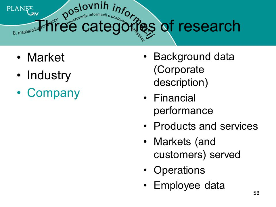 58 Three categories of research Market Industry Company Background data (Corporate description) Financial performance Products and services Markets (and customers) served Operations Employee data