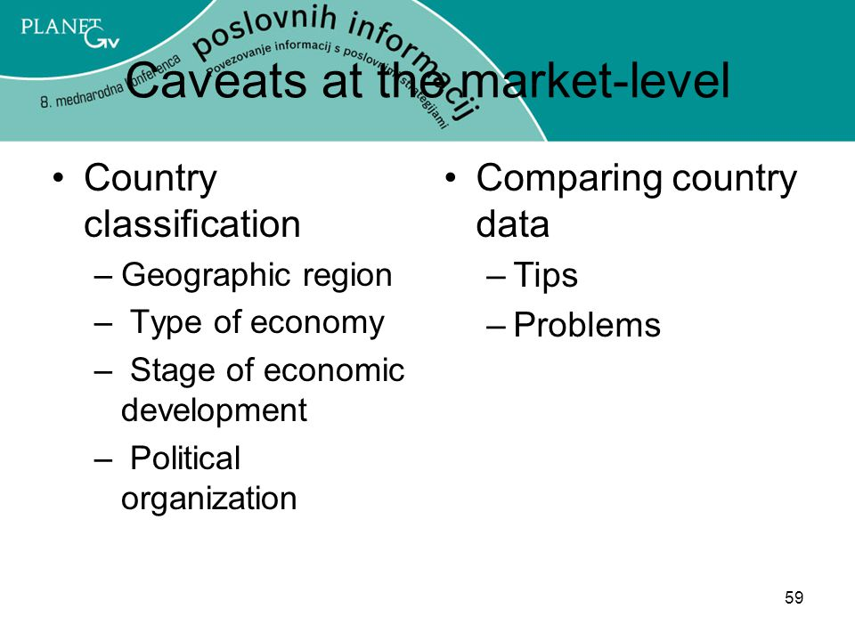 59 Caveats at the market-level Country classification –Geographic region – Type of economy – Stage of economic development – Political organization Comparing country data –Tips –Problems