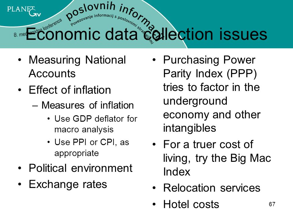 67 Economic data collection issues Measuring National Accounts Effect of inflation –Measures of inflation Use GDP deflator for macro analysis Use PPI or CPI, as appropriate Political environment Exchange rates Purchasing Power Parity Index (PPP) tries to factor in the underground economy and other intangibles For a truer cost of living, try the Big Mac Index Relocation services Hotel costs