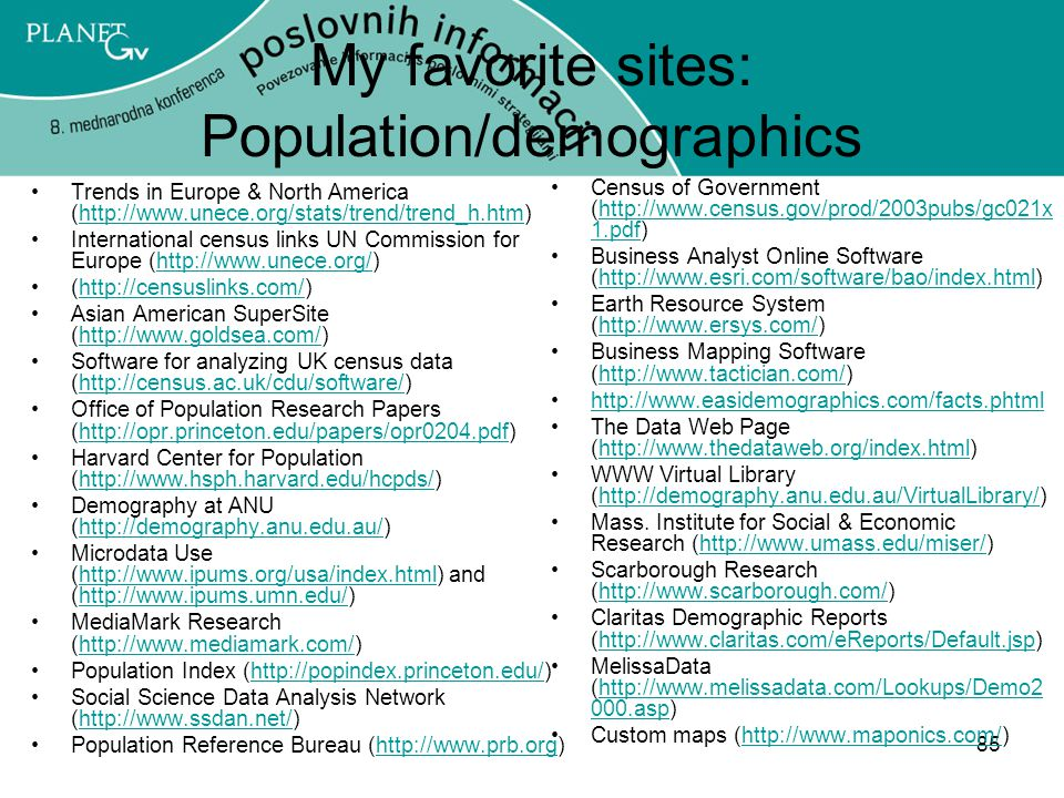 85 My favorite sites: Population/demographics Trends in Europe & North America (http://www.unece.org/stats/trend/trend_h.htm)http://www.unece.org/stats/trend/trend_h.htm International census links UN Commission for Europe (http://www.unece.org/)http://www.unece.org/ (http://censuslinks.com/)http://censuslinks.com/ Asian American SuperSite (http://www.goldsea.com/)http://www.goldsea.com/ Software for analyzing UK census data (http://census.ac.uk/cdu/software/)http://census.ac.uk/cdu/software/ Office of Population Research Papers (http://opr.princeton.edu/papers/opr0204.pdf)http://opr.princeton.edu/papers/opr0204.pdf Harvard Center for Population (http://www.hsph.harvard.edu/hcpds/)http://www.hsph.harvard.edu/hcpds/ Demography at ANU (http://demography.anu.edu.au/)http://demography.anu.edu.au/ Microdata Use (http://www.ipums.org/usa/index.html) and (http://www.ipums.umn.edu/)http://www.ipums.org/usa/index.htmlhttp://www.ipums.umn.edu/ MediaMark Research (http://www.mediamark.com/)http://www.mediamark.com/ Population Index (http://popindex.princeton.edu/)http://popindex.princeton.edu/ Social Science Data Analysis Network (http://www.ssdan.net/)http://www.ssdan.net/ Population Reference Bureau (http://www.prb.org)http://www.prb.org Census of Government (http://www.census.gov/prod/2003pubs/gc021x 1.pdf)http://www.census.gov/prod/2003pubs/gc021x 1.pdf Business Analyst Online Software (http://www.esri.com/software/bao/index.html)http://www.esri.com/software/bao/index.html Earth Resource System (http://www.ersys.com/)http://www.ersys.com/ Business Mapping Software (http://www.tactician.com/)http://www.tactician.com/ http://www.easidemographics.com/facts.phtml The Data Web Page (http://www.thedataweb.org/index.html)http://www.thedataweb.org/index.html WWW Virtual Library (http://demography.anu.edu.au/VirtualLibrary/)http://demography.anu.edu.au/VirtualLibrary/ Mass.