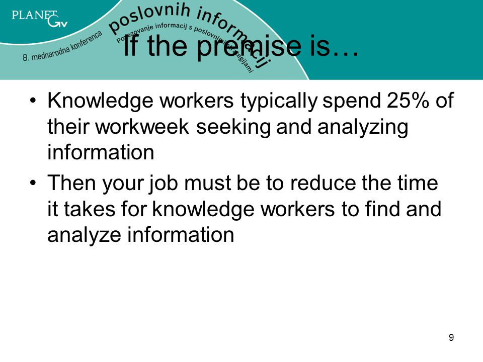 9 If the premise is… Knowledge workers typically spend 25% of their workweek seeking and analyzing information Then your job must be to reduce the time it takes for knowledge workers to find and analyze information