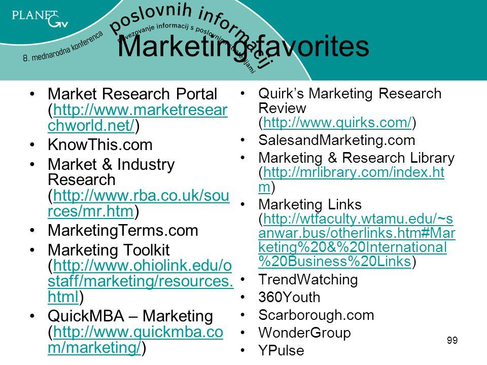 99 Marketing favorites Market Research Portal (http://www.marketresear chworld.net/)http://www.marketresear chworld.net/ KnowThis.com Market & Industry Research (http://www.rba.co.uk/sou rces/mr.htm)http://www.rba.co.uk/sou rces/mr.htm MarketingTerms.com Marketing Toolkit (http://www.ohiolink.edu/o staff/marketing/resources.