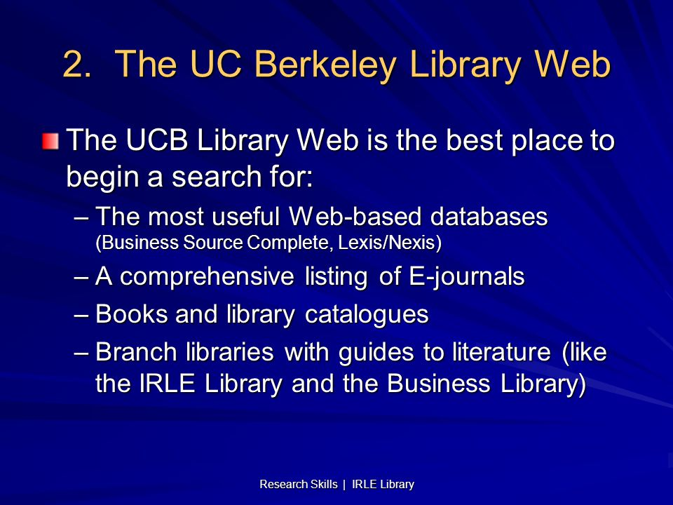 Research Skills | IRLE Library 2.