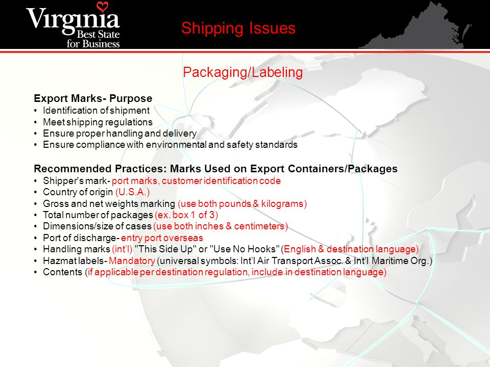Packaging/Labeling Export Marks- Purpose Identification of shipment Meet shipping regulations Ensure proper handling and delivery Ensure compliance wi