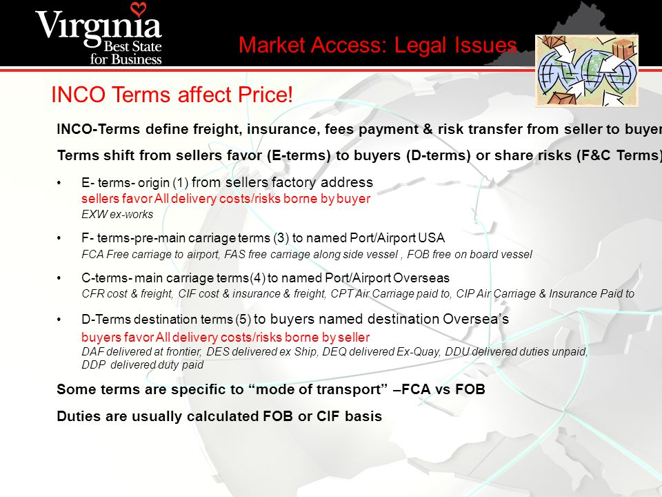 INCO Terms affect Price! Market Access: Legal Issues INCO-Terms define freight, insurance, fees payment & risk transfer from seller to buyer Terms shi
