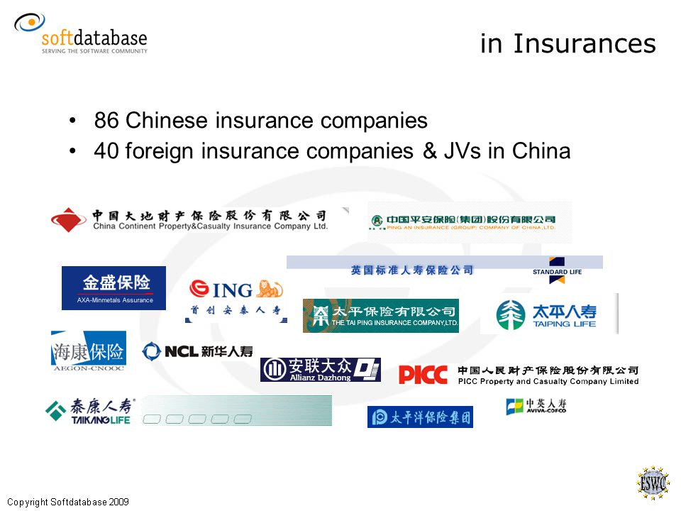in Insurances 86 Chinese insurance companies 40 foreign insurance companies & JVs in China