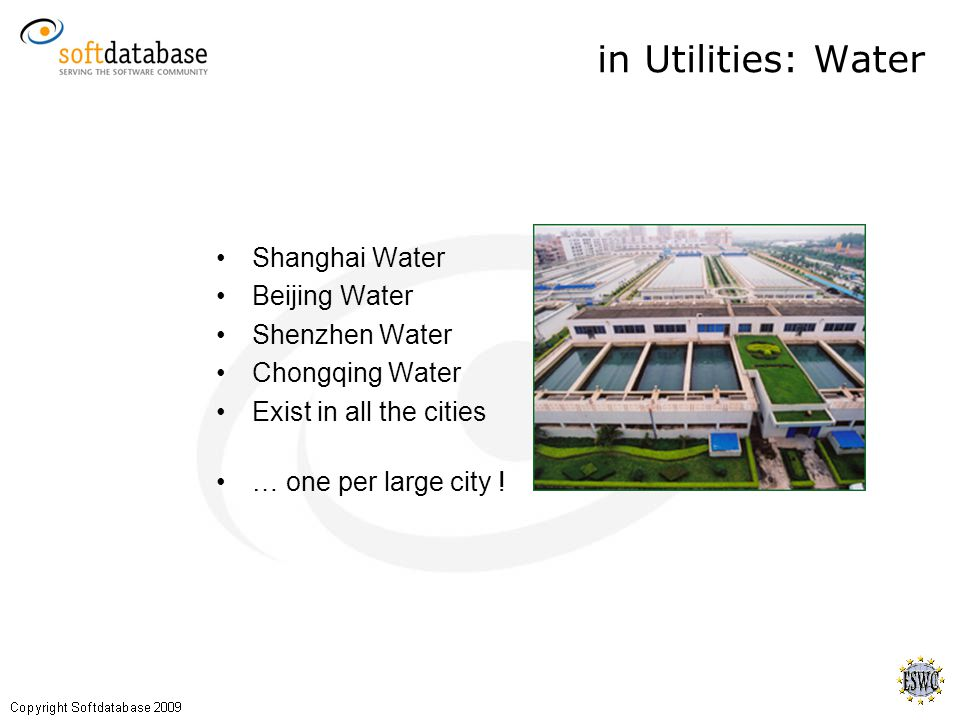 Shanghai Water Beijing Water Shenzhen Water Chongqing Water Exist in all the cities … one per large city .