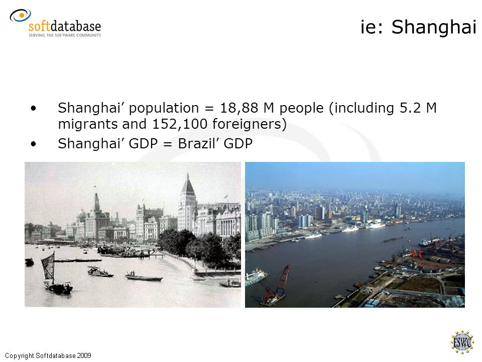 Shanghai' population = 18,88 M people (including 5.2 M migrants and 152,100 foreigners) Shanghai' GDP = Brazil' GDP ie: Shanghai