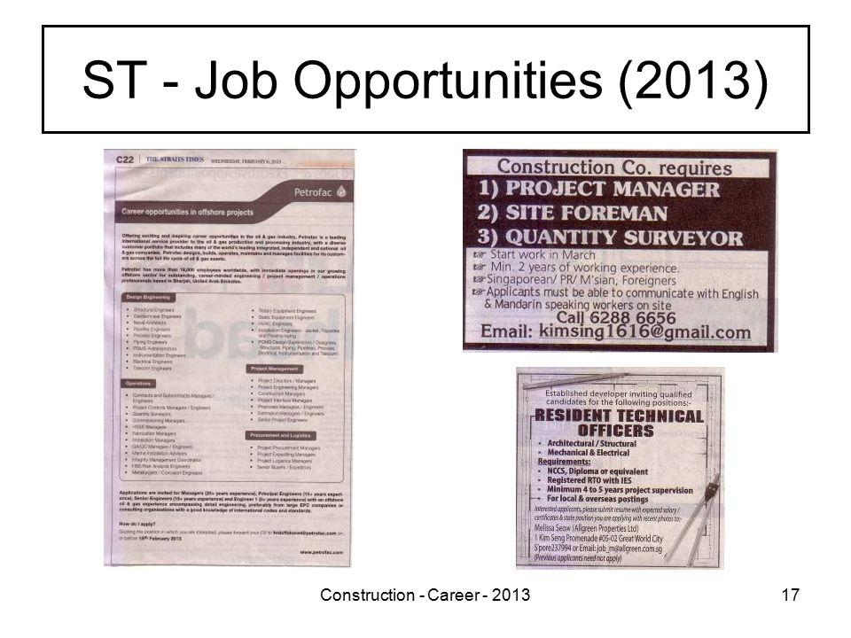 Construction - Career - 201317 ST - Job Opportunities (2013)