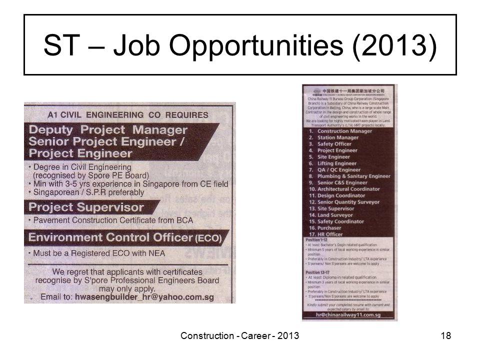 Construction - Career - 201318 ST – Job Opportunities (2013)