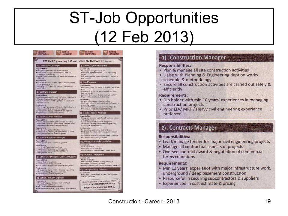 Construction - Career - 201319 ST-Job Opportunities (12 Feb 2013)