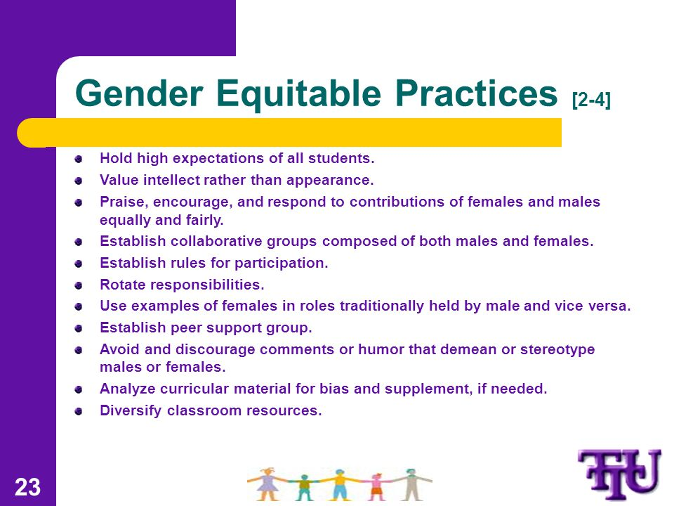 Gender Equitable Practices [2-4] Hold high expectations of all students.