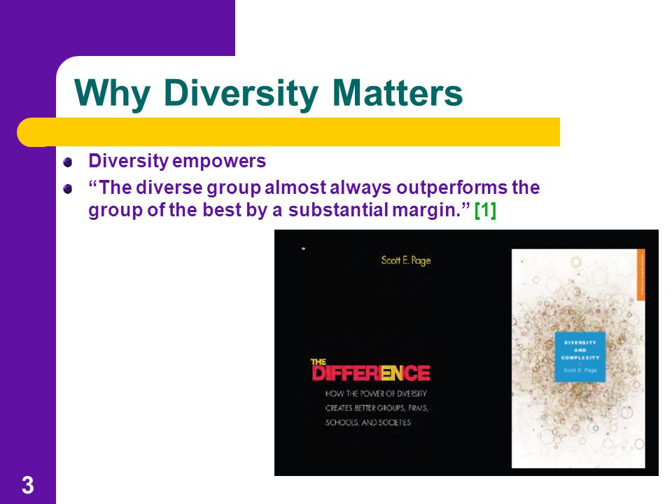 Why Diversity Matters Diversity empowers The diverse group almost always outperforms the group of the best by a substantial margin. [1] 3