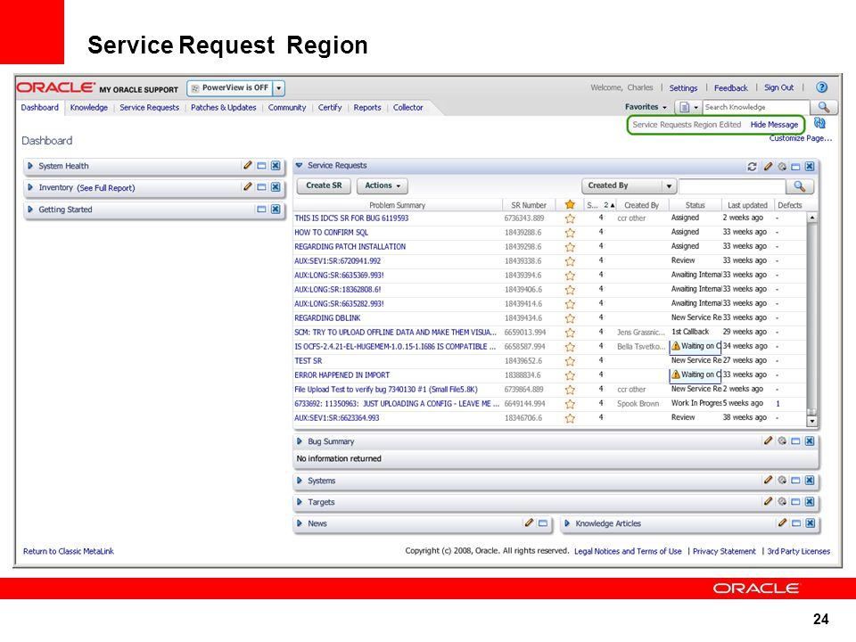 24 Service Request Region