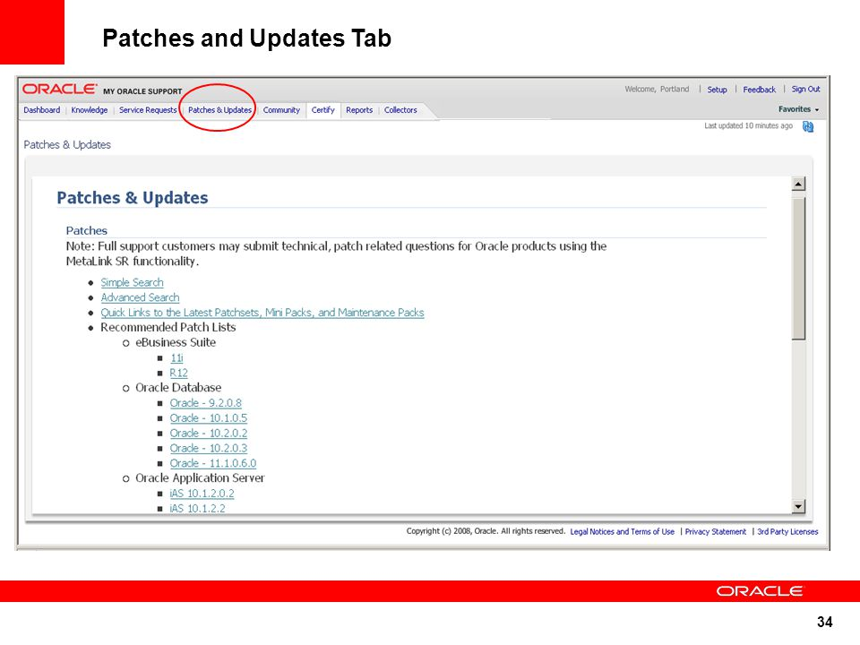 34 Patches and Updates Tab