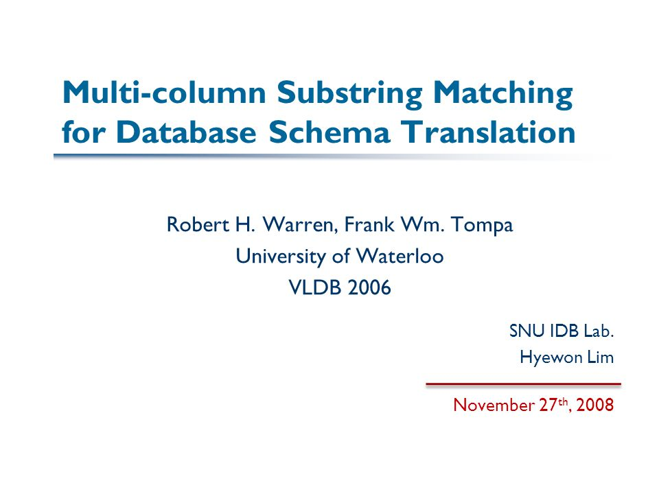Multi-column Substring Matching for Database Schema Translation Robert H.