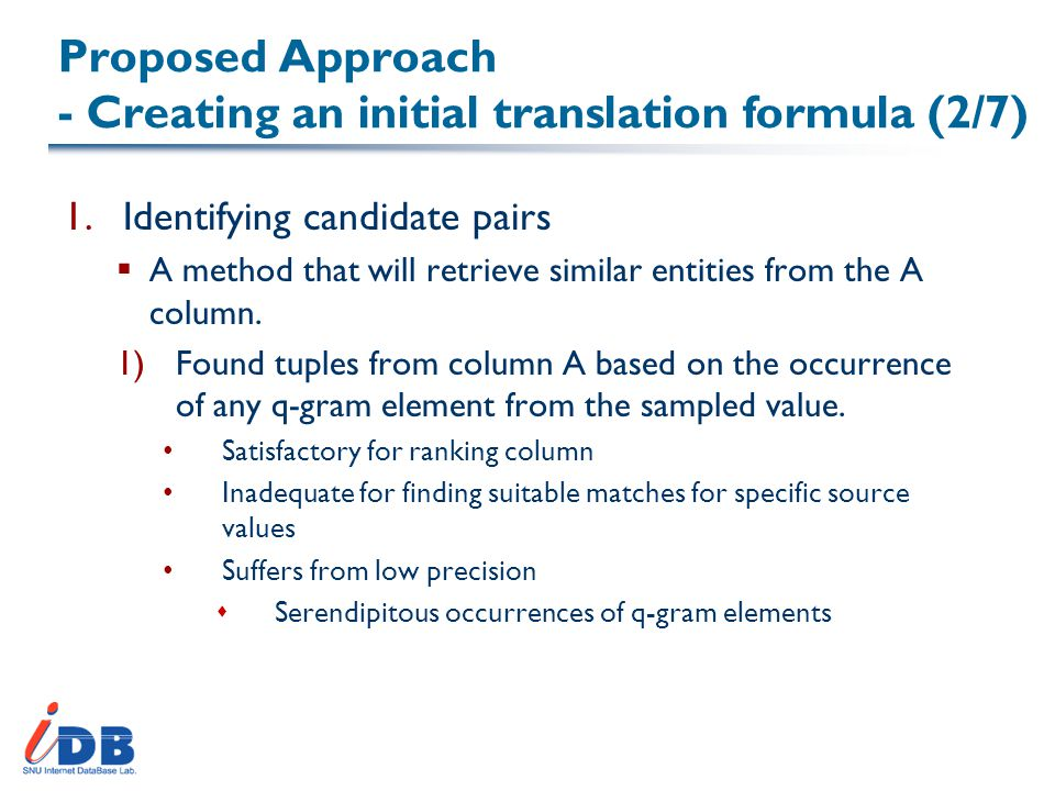 Proposed Approach - Creating an initial translation formula (2/7) 1.Identifying candidate pairs  A method that will retrieve similar entities from the A column.