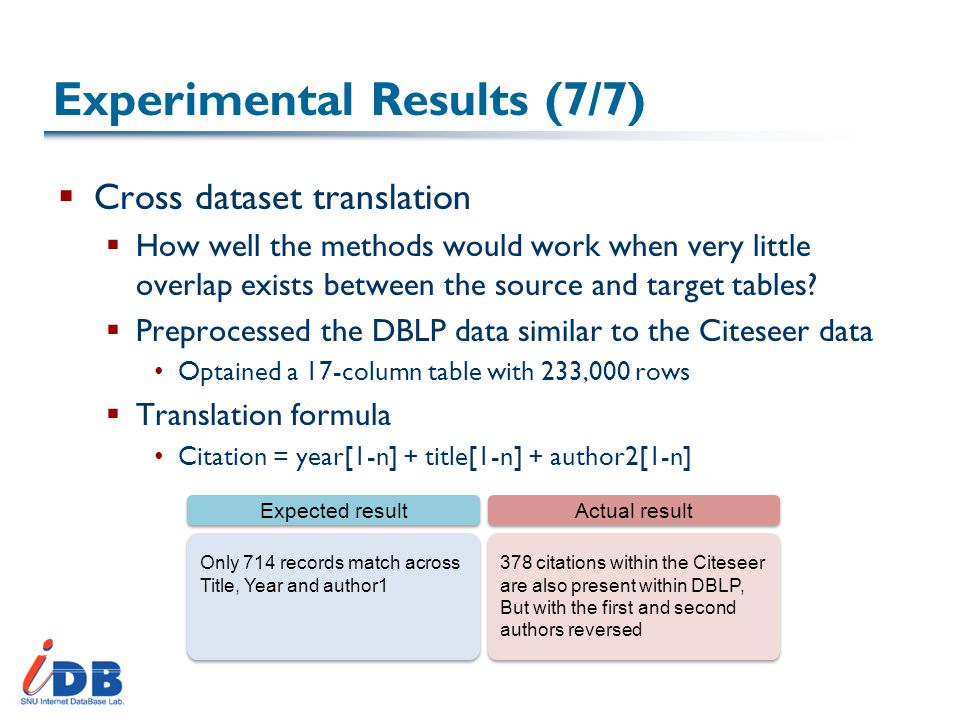 Experimental Results (7/7)  Cross dataset translation  How well the methods would work when very little overlap exists between the source and target tables.