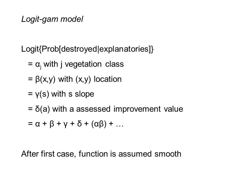 Logit-gam model Logit{Prob[destroyed|explanatories]} = α j with j vegetation class = β(x,y) with (x,y) location = γ(s) with s slope = δ(a) with a assessed improvement value = α + β + γ + δ + (αβ) + … After first case, function is assumed smooth