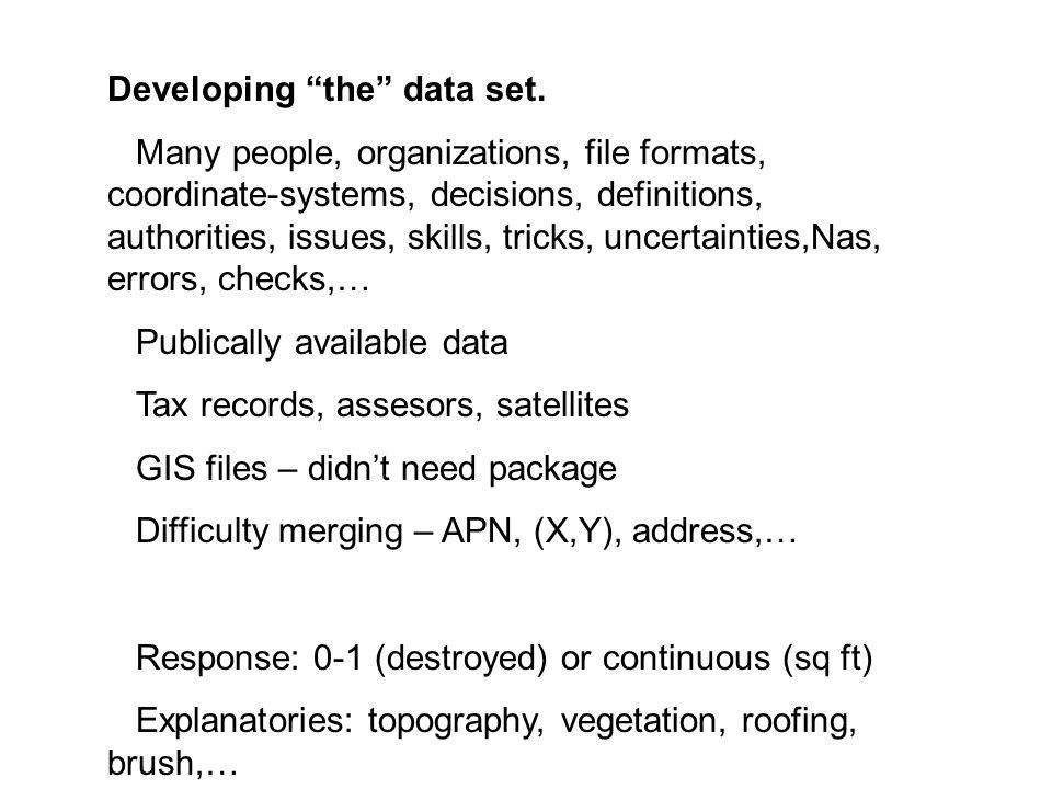 Developing the data set.
