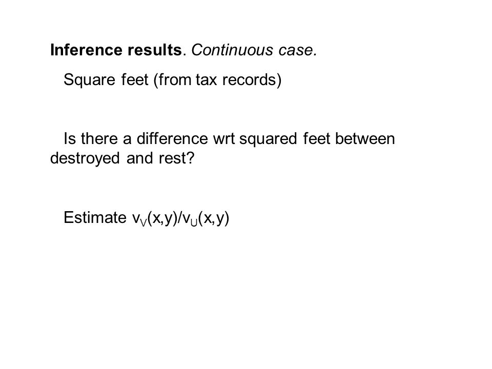 Inference results. Continuous case.