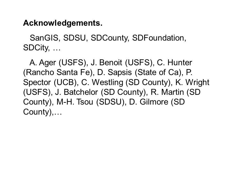 Acknowledgements. SanGIS, SDSU, SDCounty, SDFoundation, SDCity, … A.
