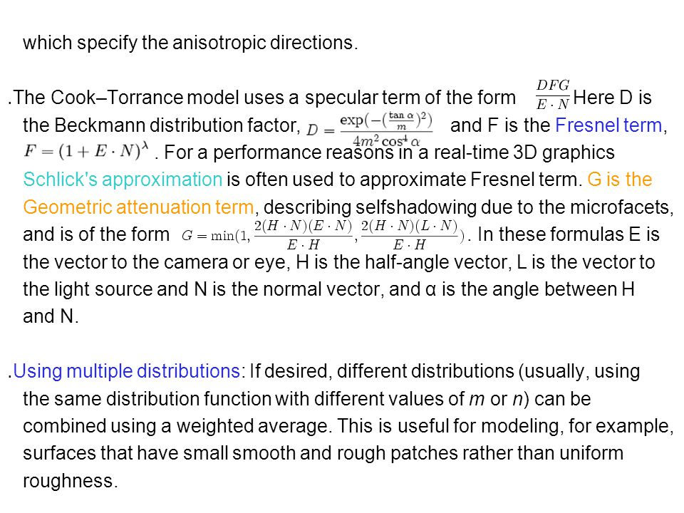 which specify the anisotropic directions.