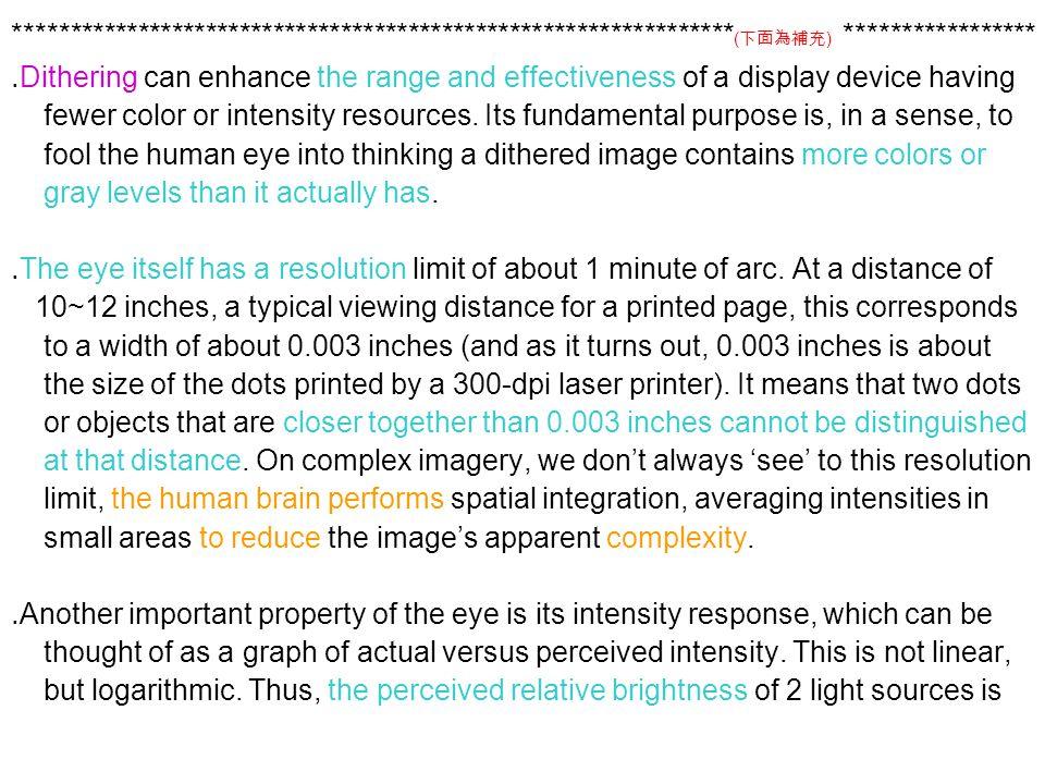 **************************************************************** ( 下面為補充 ) ***************** ․ Dithering can enhance the range and effectiveness of a display device having fewer color or intensity resources.