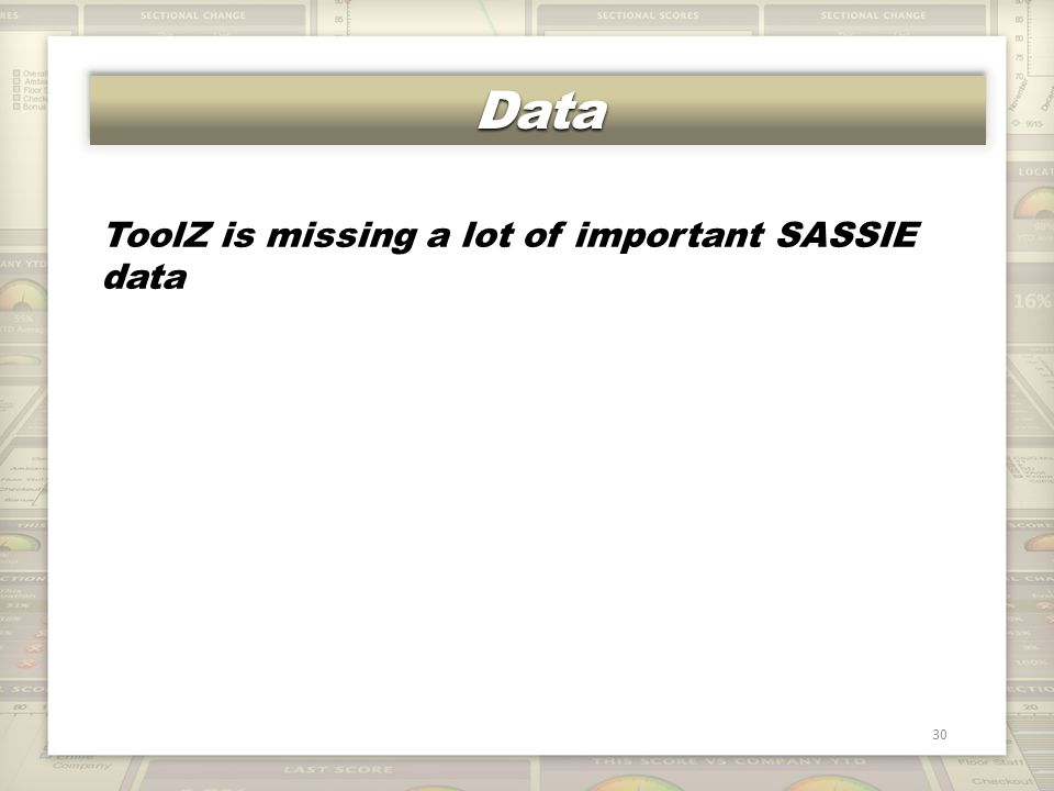 DataData 30 ToolZ is missing a lot of important SASSIE data