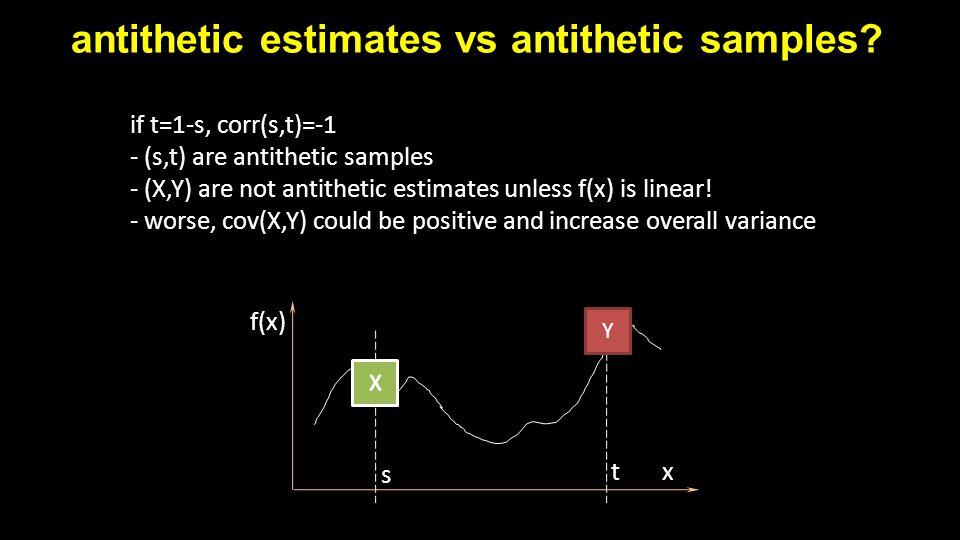 antithetic estimates vs antithetic samples? x f(x) s t Y if t=1-s, corr(s,t)=-1 - (s,t) are antithetic samples - (X,Y) are not antithetic estimates un