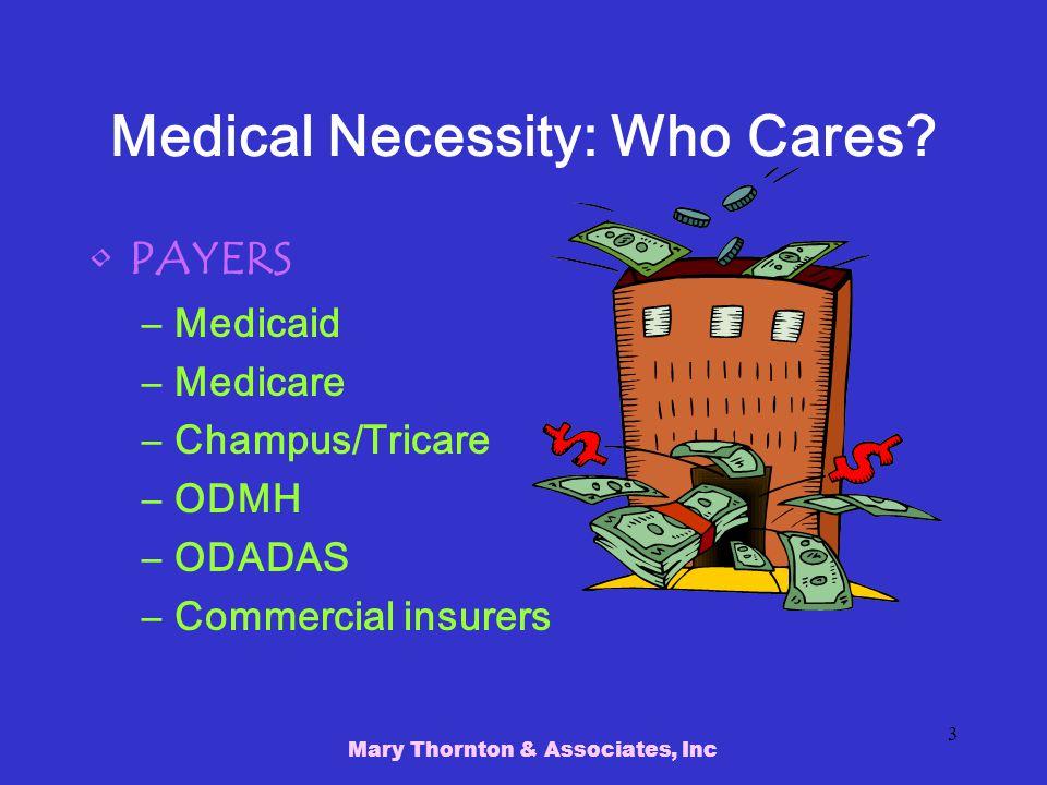 Mary Thornton & Associates, Inc 3 Medical Necessity: Who Cares.