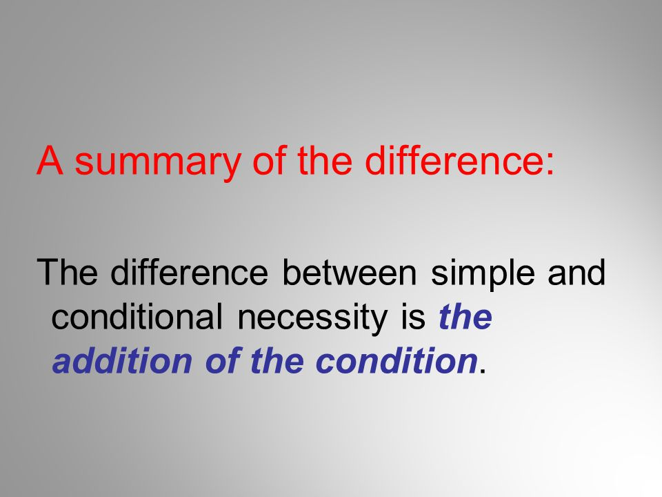 A summary of the difference: The difference between simple and conditional necessity is the addition of the condition.