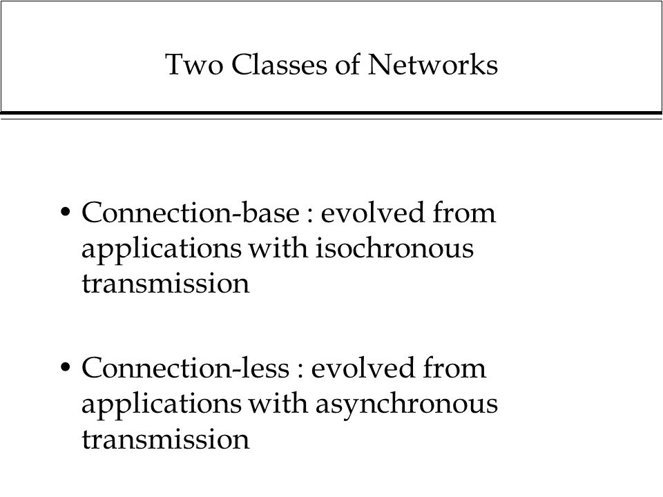Two Classes of Networks Connection-base : evolved from applications with isochronous transmission Connection-less : evolved from applications with asynchronous transmission