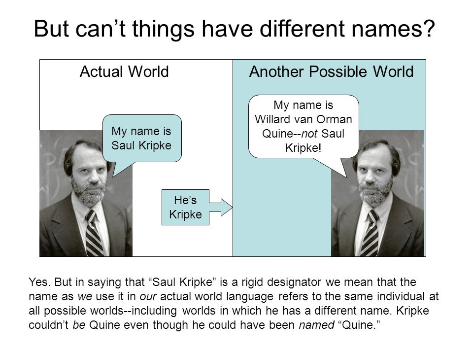 But can't things have different names.