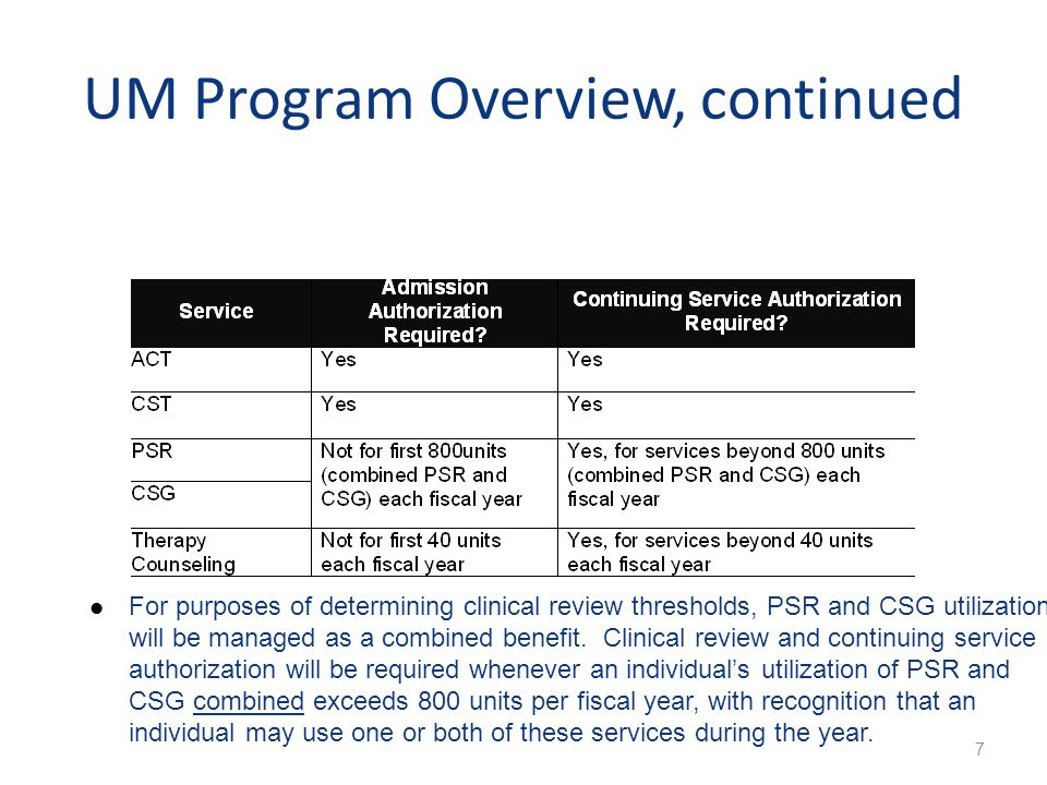 UM Program Overview, continued 7 For purposes of determining clinical review thresholds, PSR and CSG utilization will be managed as a combined benefit