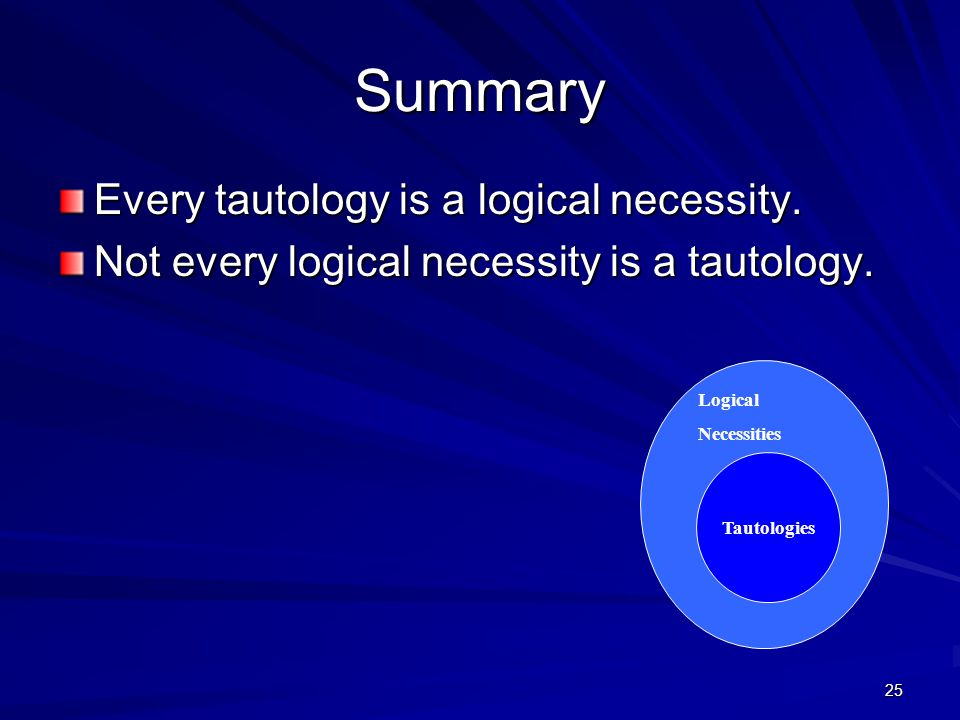 25 Summary Every tautology is a logical necessity.