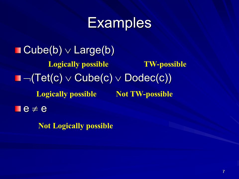 7 Examples Cube(b)  Large(b)  (Tet(c)  Cube(c)  Dodec(c)) e  e Logically possibleTW-possible Not TW-possibleLogically possible Not Logically possible