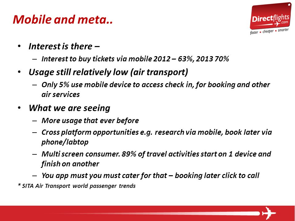 Interest is there – – Interest to buy tickets via mobile 2012 – 63%, 2013 70% Usage still relatively low (air transport) – Only 5% use mobile device to access check in, for booking and other air services What we are seeing – More usage that ever before – Cross platform opportunities e.g.