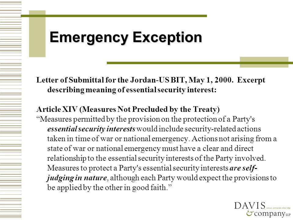 Emergency Exception Letter of Submittal for the Jordan-US BIT, May 1, 2000.