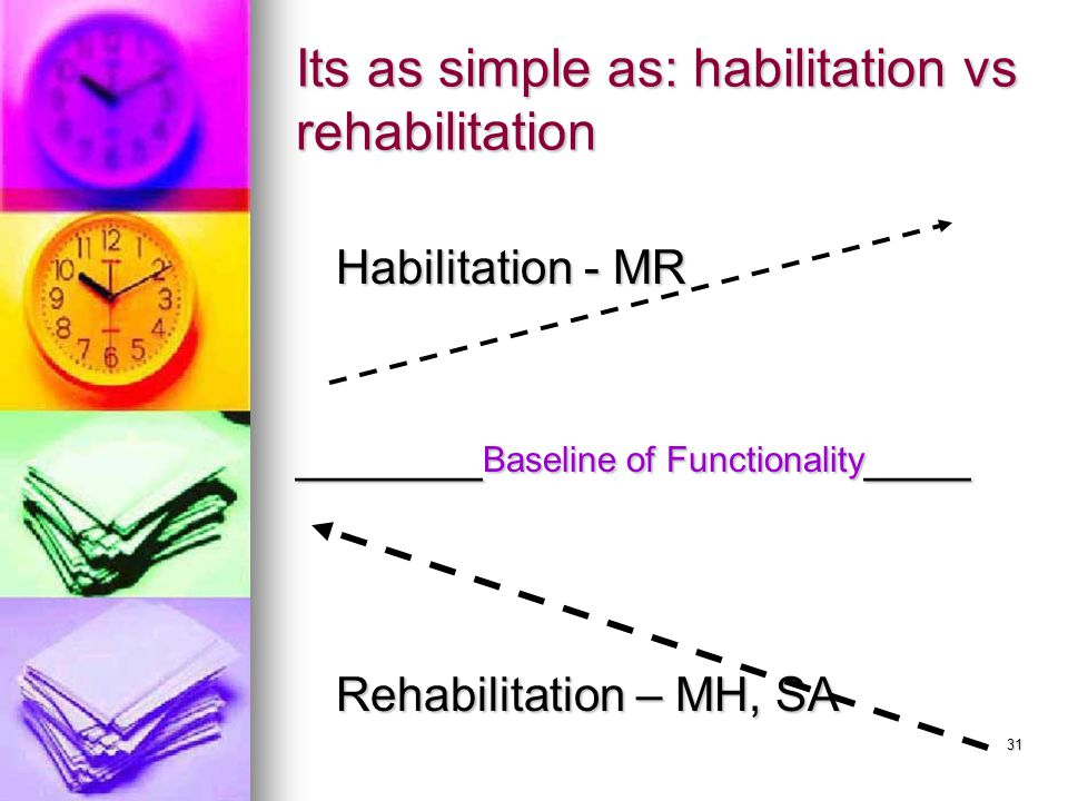31 Its as simple as: habilitation vs rehabilitation Habilitation - MR Habilitation - MR _______ Baseline of Functionality ____ Rehabilitation – MH, SA Rehabilitation – MH, SA