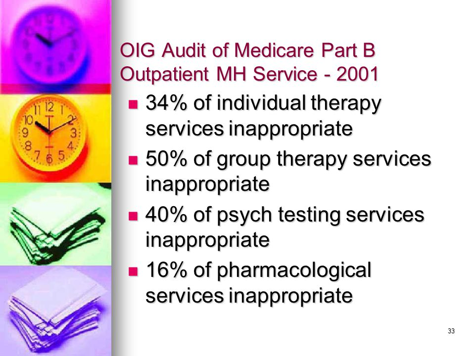 33 OIG Audit of Medicare Part B Outpatient MH Service - 2001 34% of individual therapy services inappropriate 34% of individual therapy services inappropriate 50% of group therapy services inappropriate 50% of group therapy services inappropriate 40% of psych testing services inappropriate 40% of psych testing services inappropriate 16% of pharmacological services inappropriate 16% of pharmacological services inappropriate
