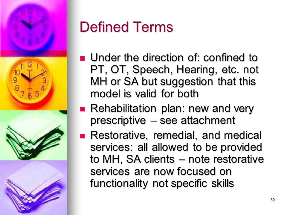 69 Defined Terms Under the direction of: confined to PT, OT, Speech, Hearing, etc.