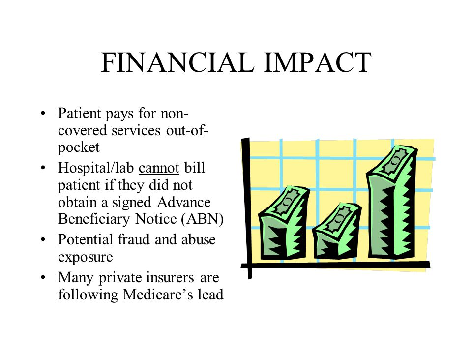 FINANCIAL IMPACT Patient pays for non- covered services out-of- pocket Hospital/lab cannot bill patient if they did not obtain a signed Advance Benefi